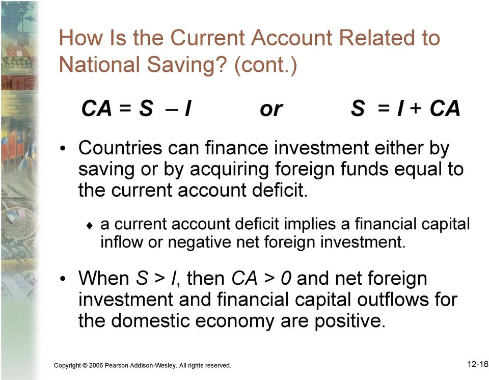current account deficit. a current account deficit implies a financial capital inflow or negative net foreign investment.