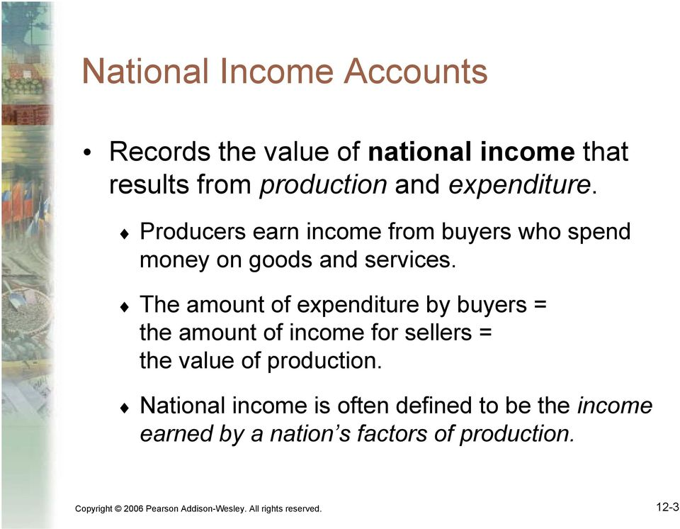 The amount of expenditure by buyers = the amount of income for sellers = the value of production.