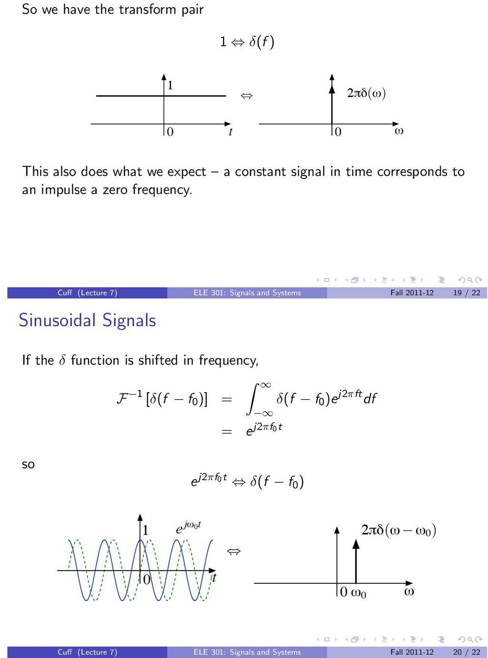 Cuff (Lecture 7) ELE 3: Signals and Systems Fall 2-2 9 / 22 Sinusoidal Signals If the δ function is