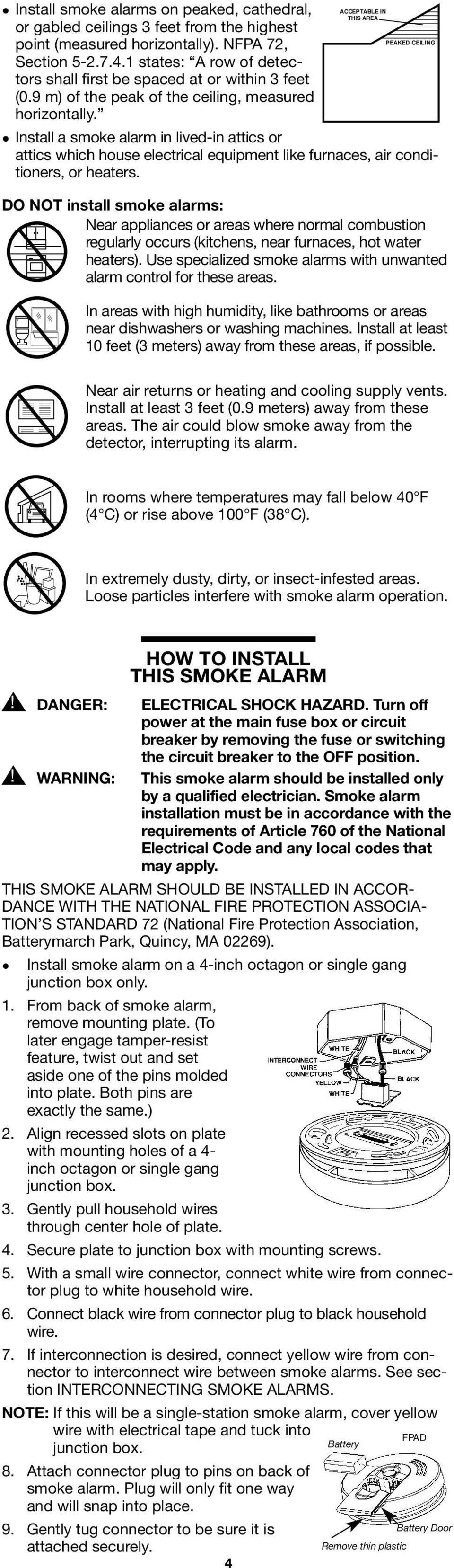120V AC Smoke Alarm with 9V Battery Back-up - PDF