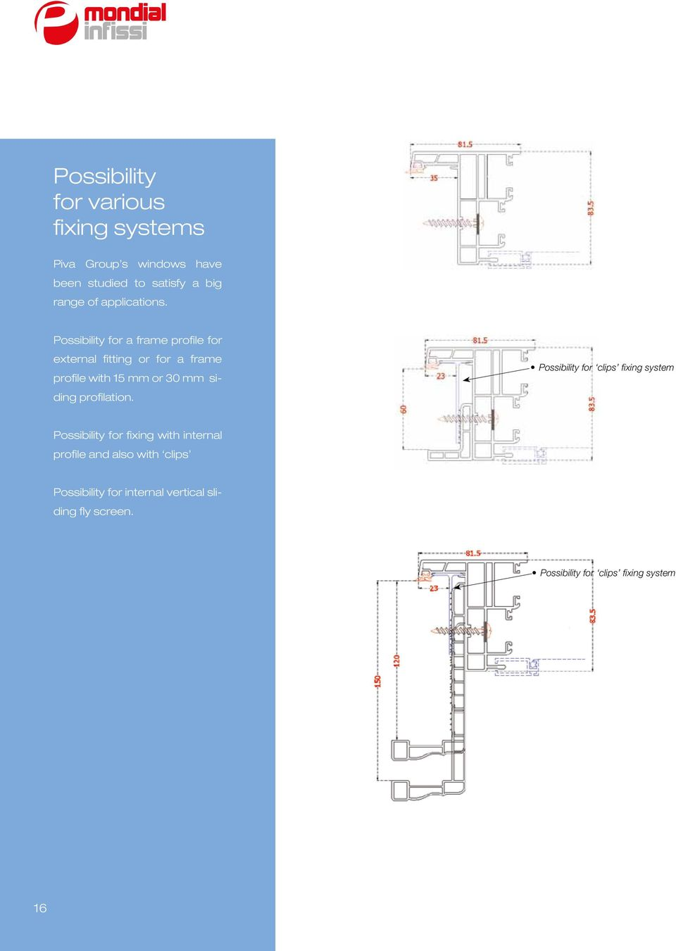 Possibility for a frame profile for external fitting or for a frame profile with 15 mm or 30 mm siding