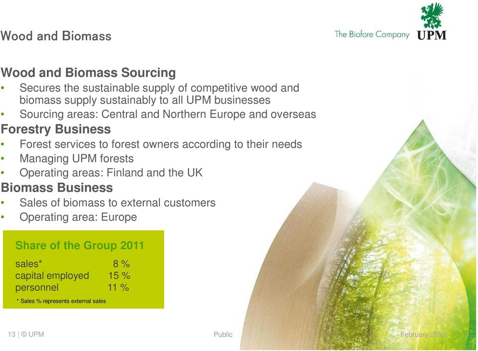 to their needs Managing UPM forests Operating areas: Finland and the UK Biomass Business Sales of biomass to external customers