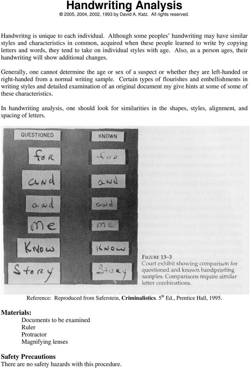 Handwriting Analysis 2005, 2004, 2002, 1993 by David A. Katz. All ...