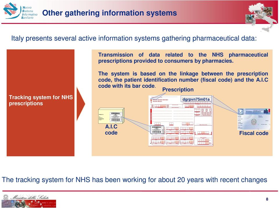 Tracking system for NHS prescriptions The system is based on the linkage between the prescription code, the patient identification number (fiscal