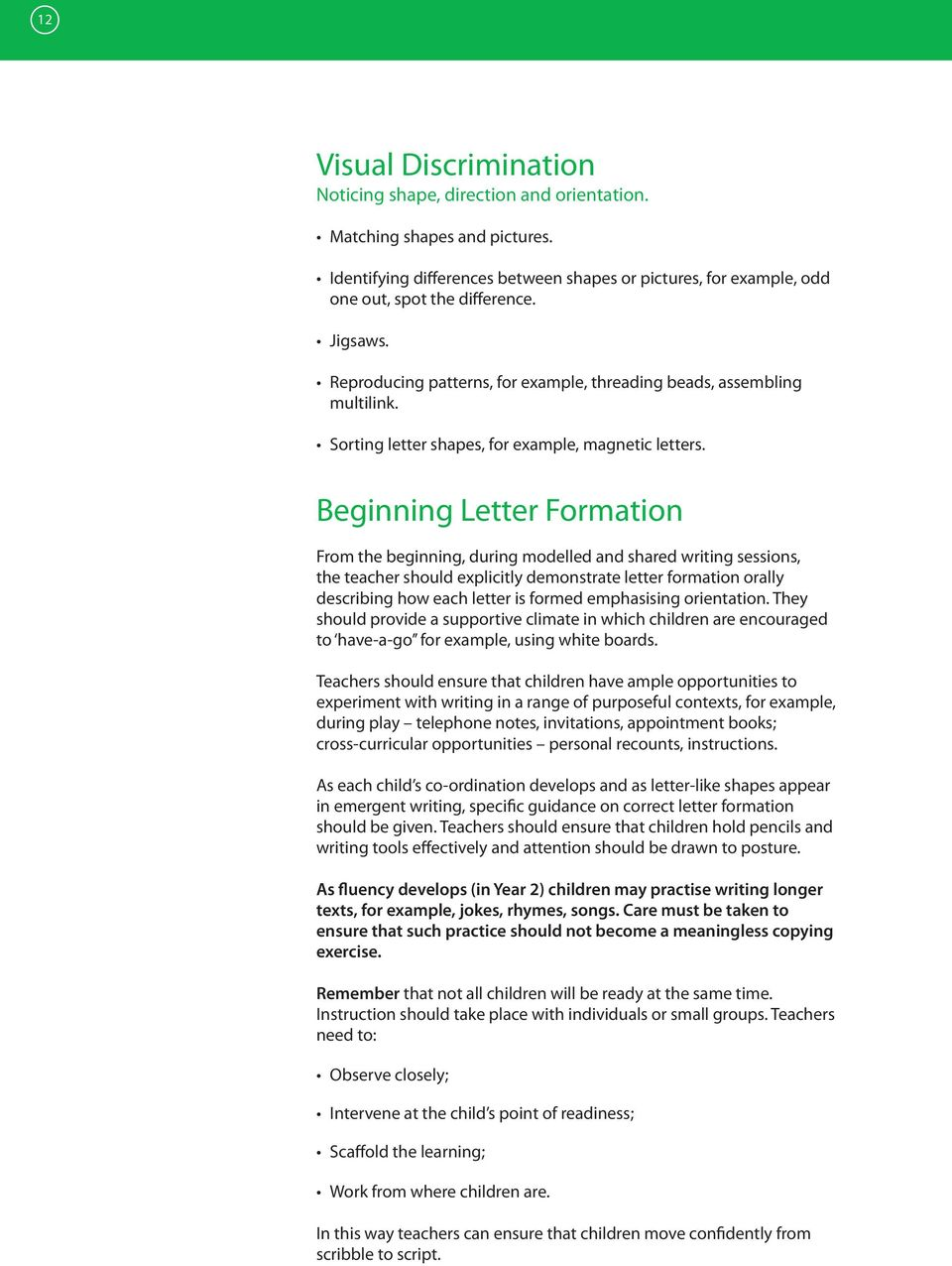 Beginning Letter Formation From the beginning, during modelled and shared writing sessions, the teacher should explicitly demonstrate letter formation orally describing how each letter is formed