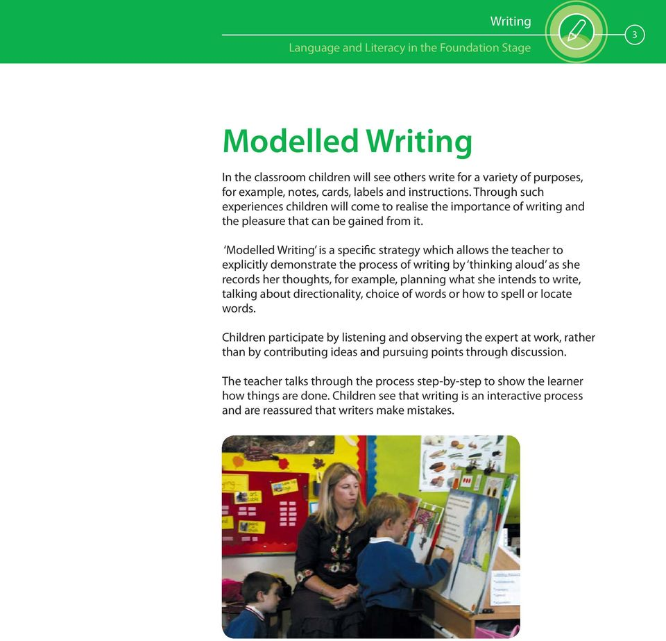 Modelled Writing is a specific strategy which allows the teacher to explicitly demonstrate the process of writing by thinking aloud as she records her thoughts, for example, planning what she intends