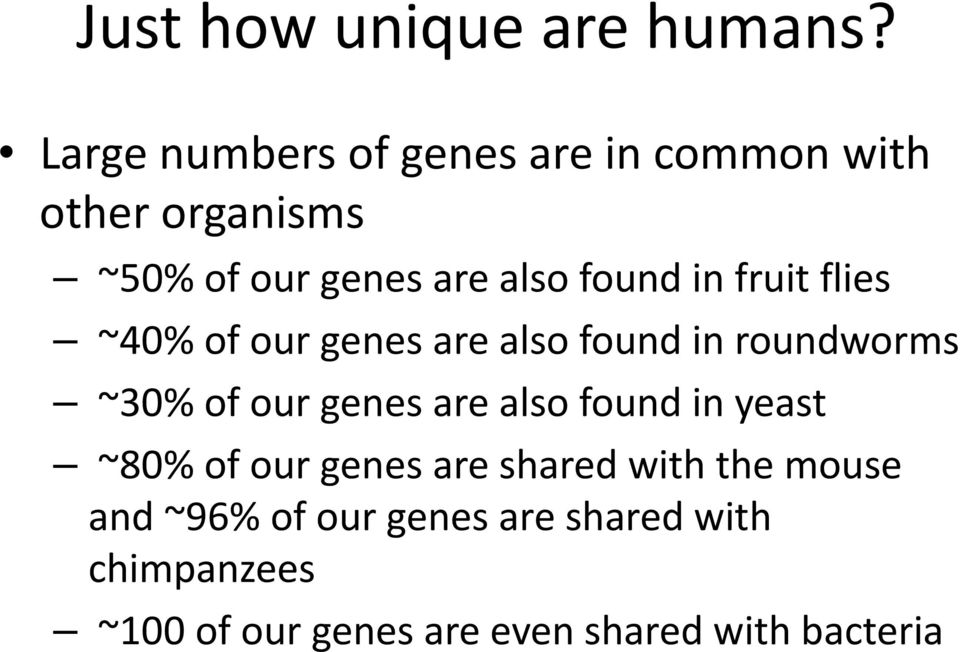 in fruit flies ~40% of our genes are also found in roundworms ~30% of our genes are also
