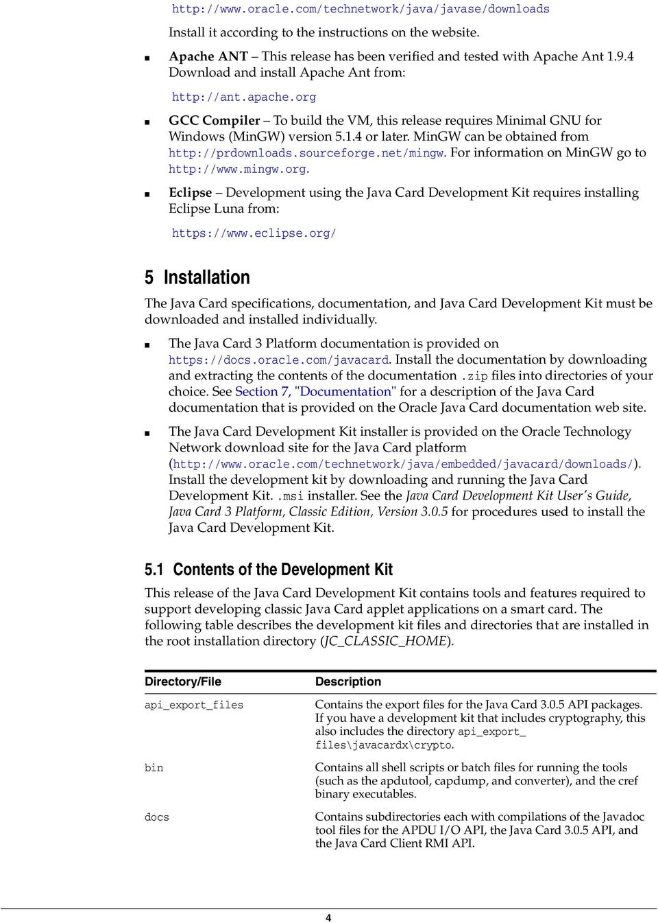 Java Card Development Kit  1 Table of Contents  2