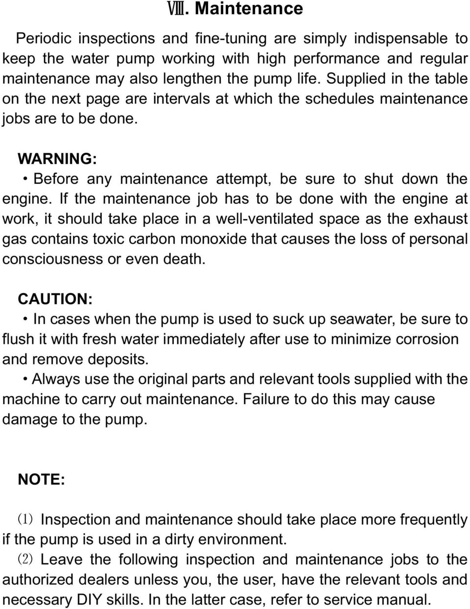 Gasoline water pump owner s manual pdf if the maintenance job has to be done with the engine at work it should ccuart Choice Image