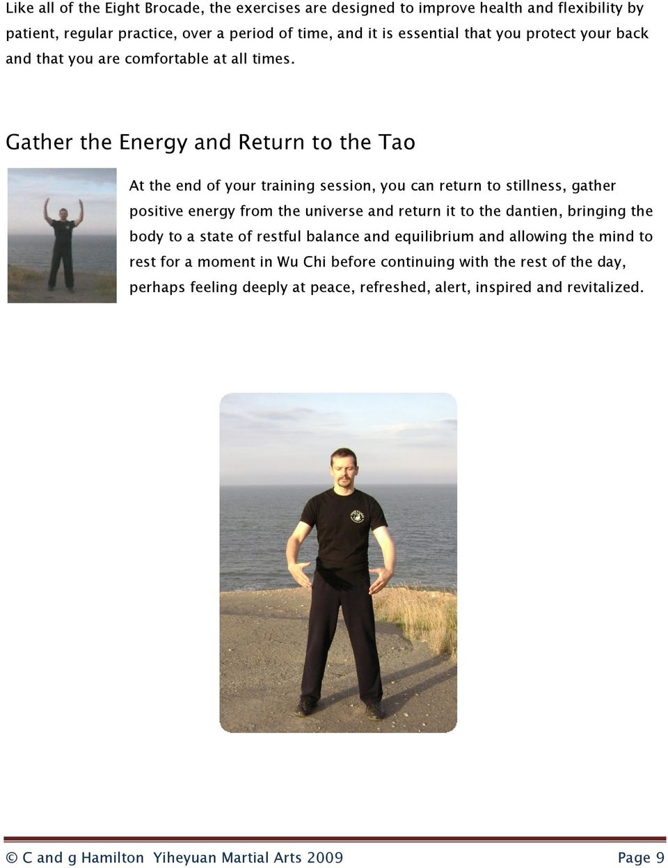Gather the Energy and Return to the Tao At the end of your training session, you can return to stillness, gather positive energy from the universe and return it to the