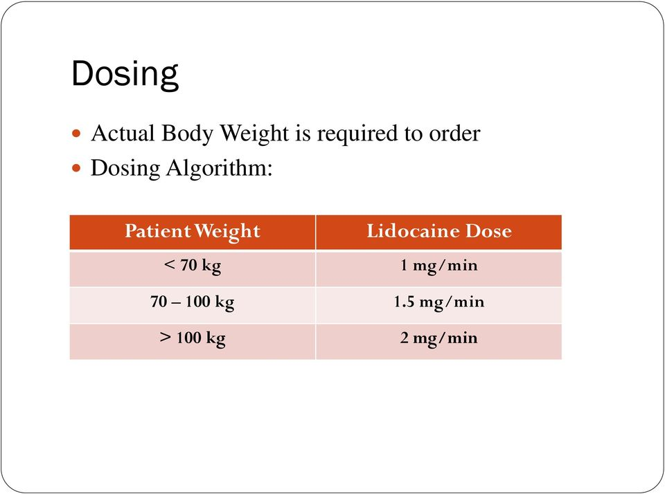 Weight Lidocaine Dose < 70 kg 1