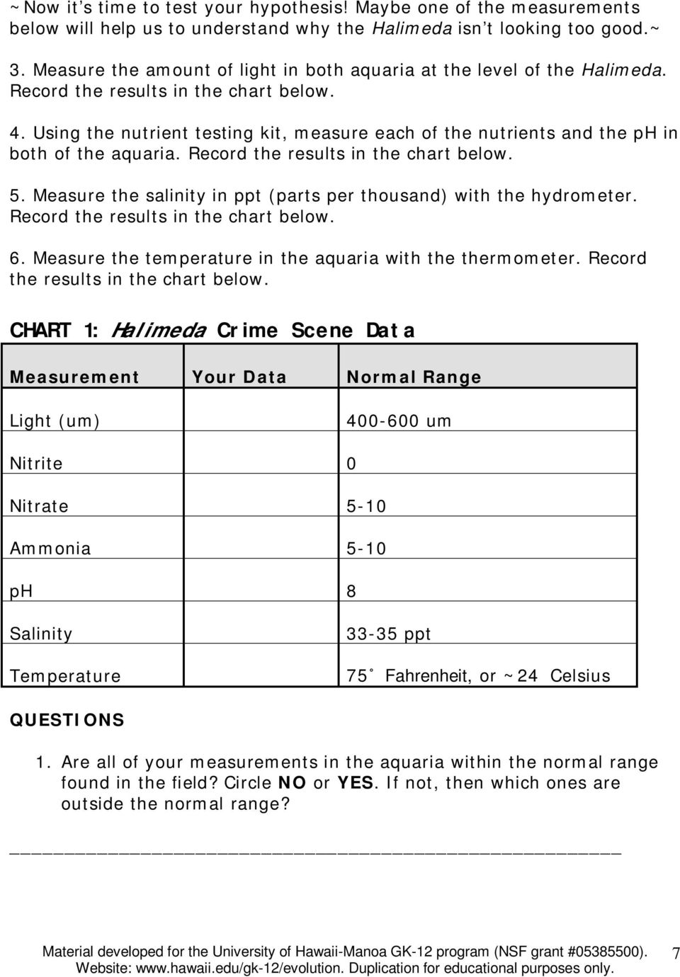 Using the nutrient testing kit, measure each of the nutrients and the ph in both of the aquaria. Record the results in the chart below. 5.