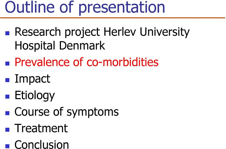 Denmark Prevalence of co-morbidities