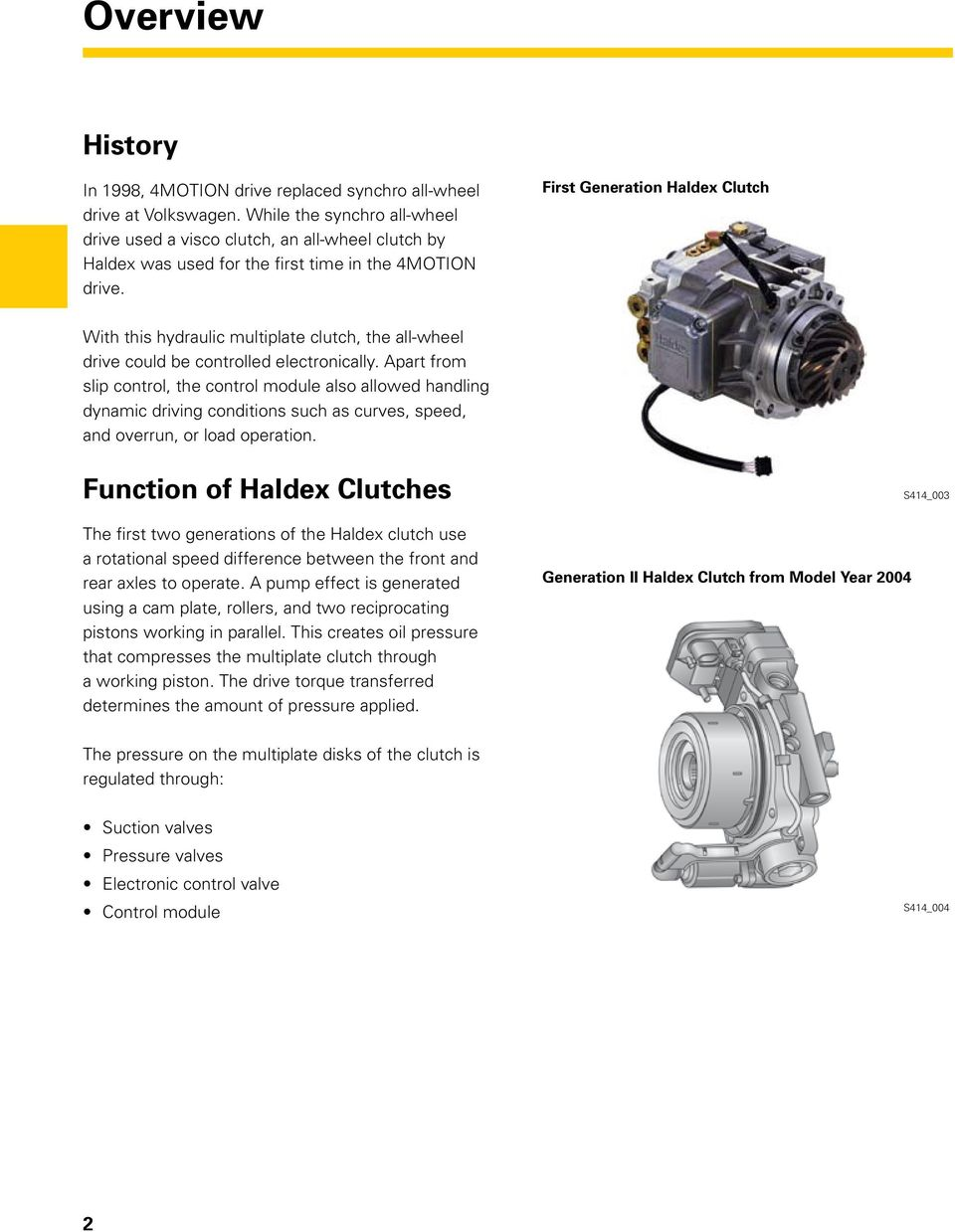 First Generation Haldex Clutch With this hydraulic multiplate clutch, the all-wheel drive could be controlled electronically.