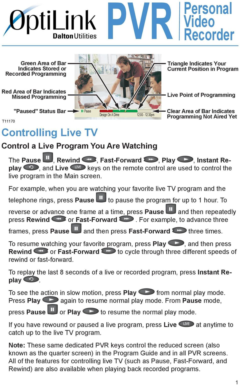 Rewind, Fast-Forward, Play, Instant Replay, and Live keys on the remote control are used to control the live program in the Main screen.