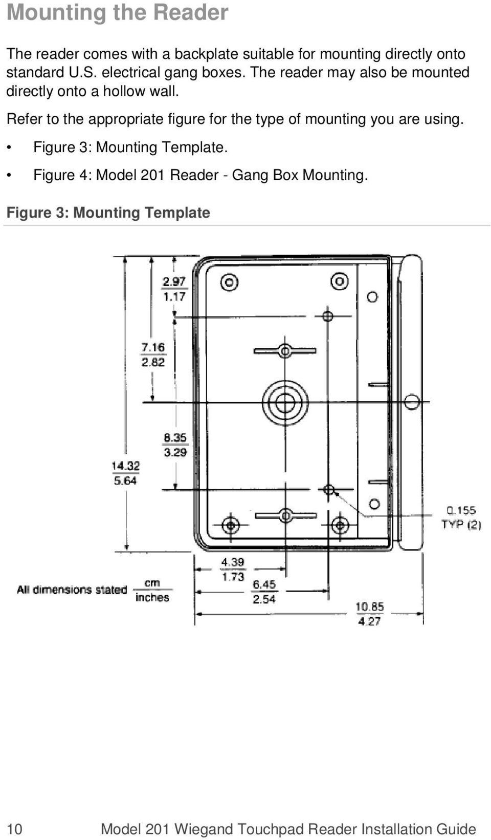 Refer to the appropriate figure for the type of mounting you are using. Figure 3: Mounting Template.