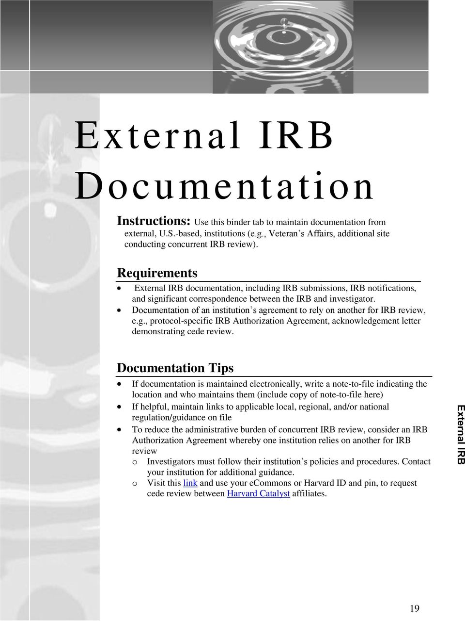 External IRB documentation, including IRB submissions, IRB notifications, and significant correspondence between the IRB and investigator.