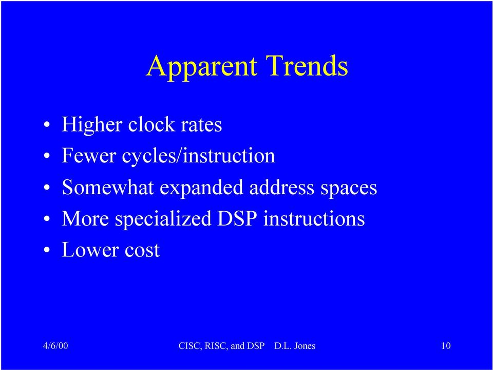 spaces More specialized DSP instructions