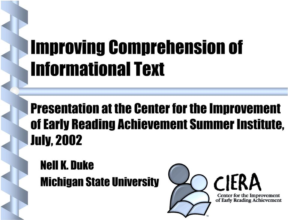 of Early Reading Achievement Summer Institute,