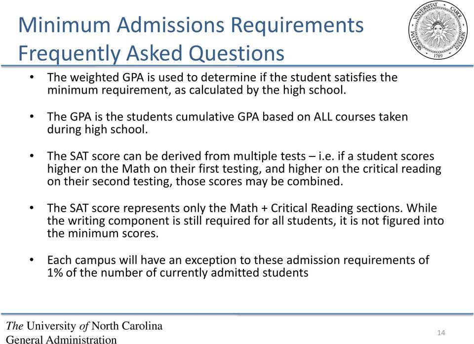 The SAT score represents only the Math + Critical Reading sections. While the writing component is still required for all students, it is not figured into the minimum scores.