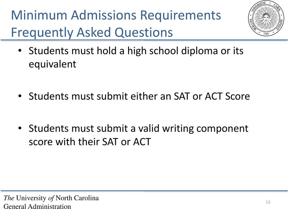 Students must submit either an SAT or ACT Score Students