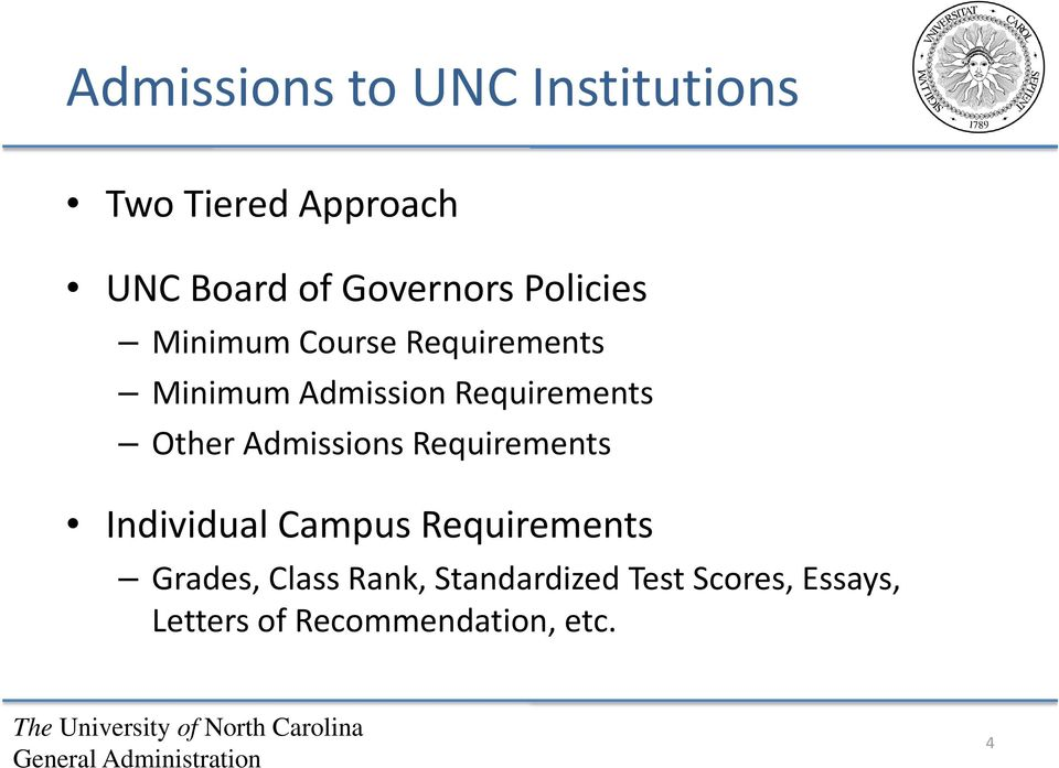 Requirements Other Admissions Requirements Individual Campus