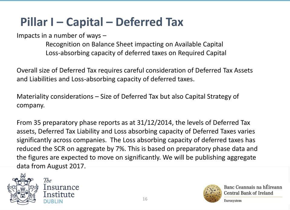 Materiality considerations Size of Deferred Tax but also Capital Strategy of company.