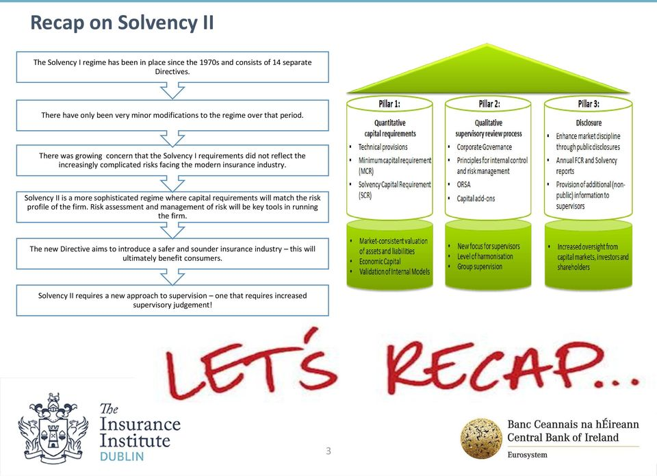 Break There was growing concern that the Solvency I requirements did not reflect the increasingly complicated risks facing the modern insurance industry.