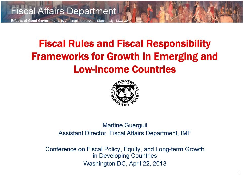 Low-Income Countries Martine Guerguil Assistant Director, Fiscal Affairs Department, IMF