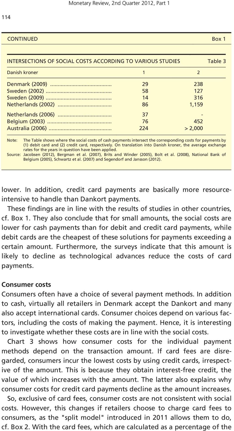 .. 224 > 2,000 Note: The Table shows where the social costs of cash payments intersect the corresponding costs for payments by (1) debit card and (2) credit card, respectively.