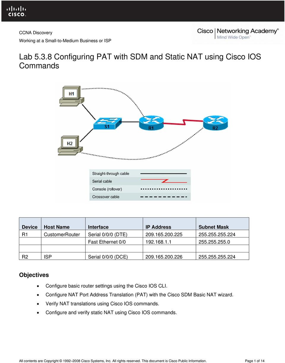 Configure NAT Port Address Translation (PAT) with the Cisco SDM Basic NAT wizard. Verify NAT translations using Cisco IOS commands.