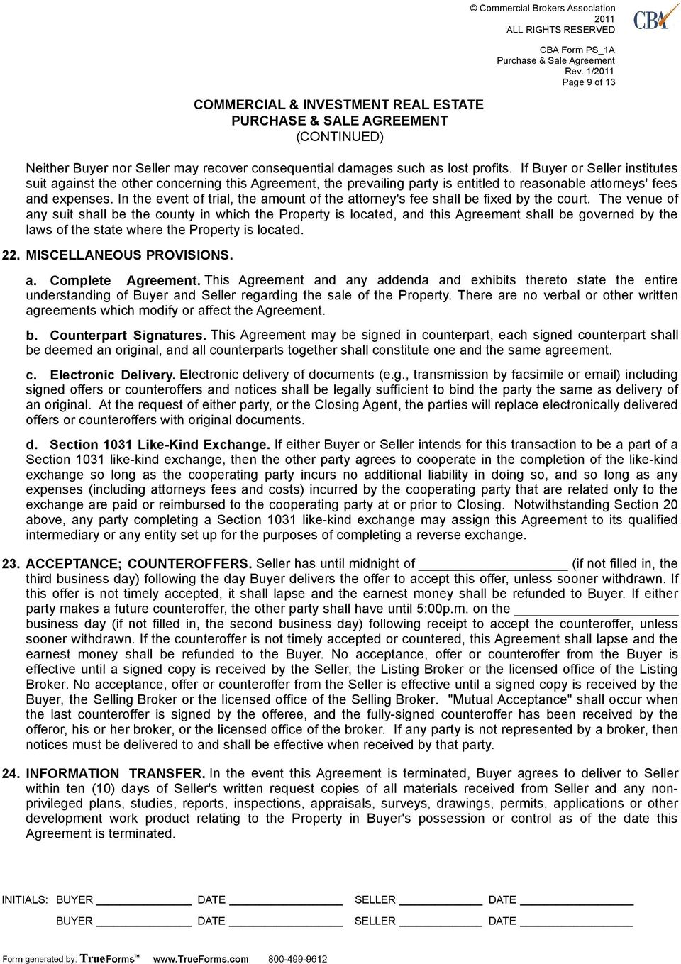 Commercial Investment Real Estate Purchase Sale Agreement Pdf