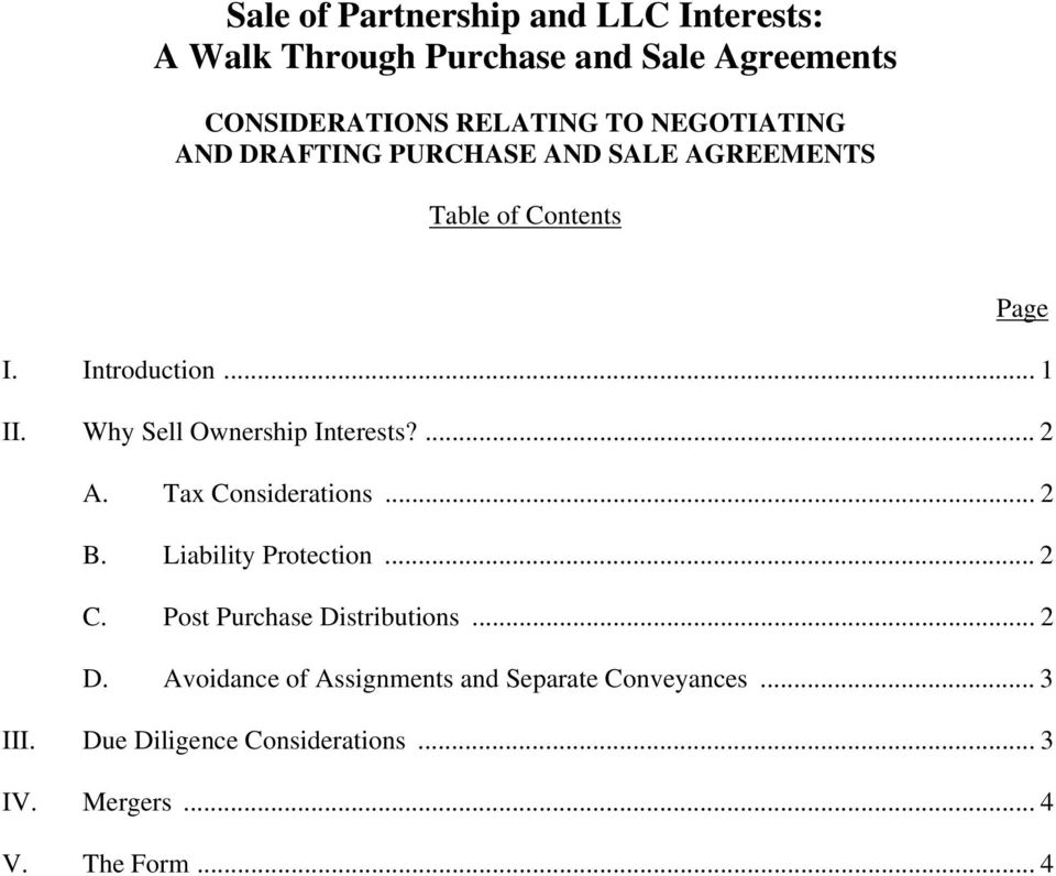 Why Sell Ownership Interests?... 2 A. Tax Considerations... 2 B. Liability Protection... 2 C.