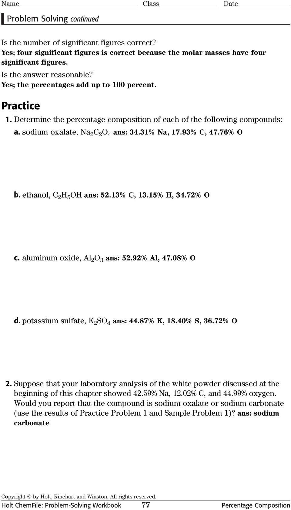 Problem Solving Percentage Composition PDF – Percentage Composition Worksheet Answers