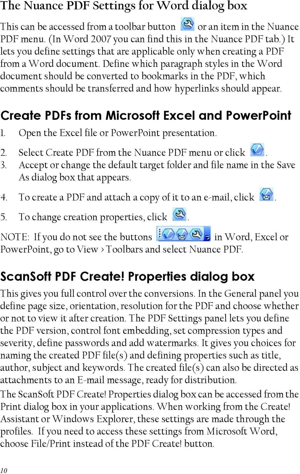 Define which paragraph styles in the Word document should be converted to bookmarks in the PDF, which comments should be transferred and how hyperlinks should appear.