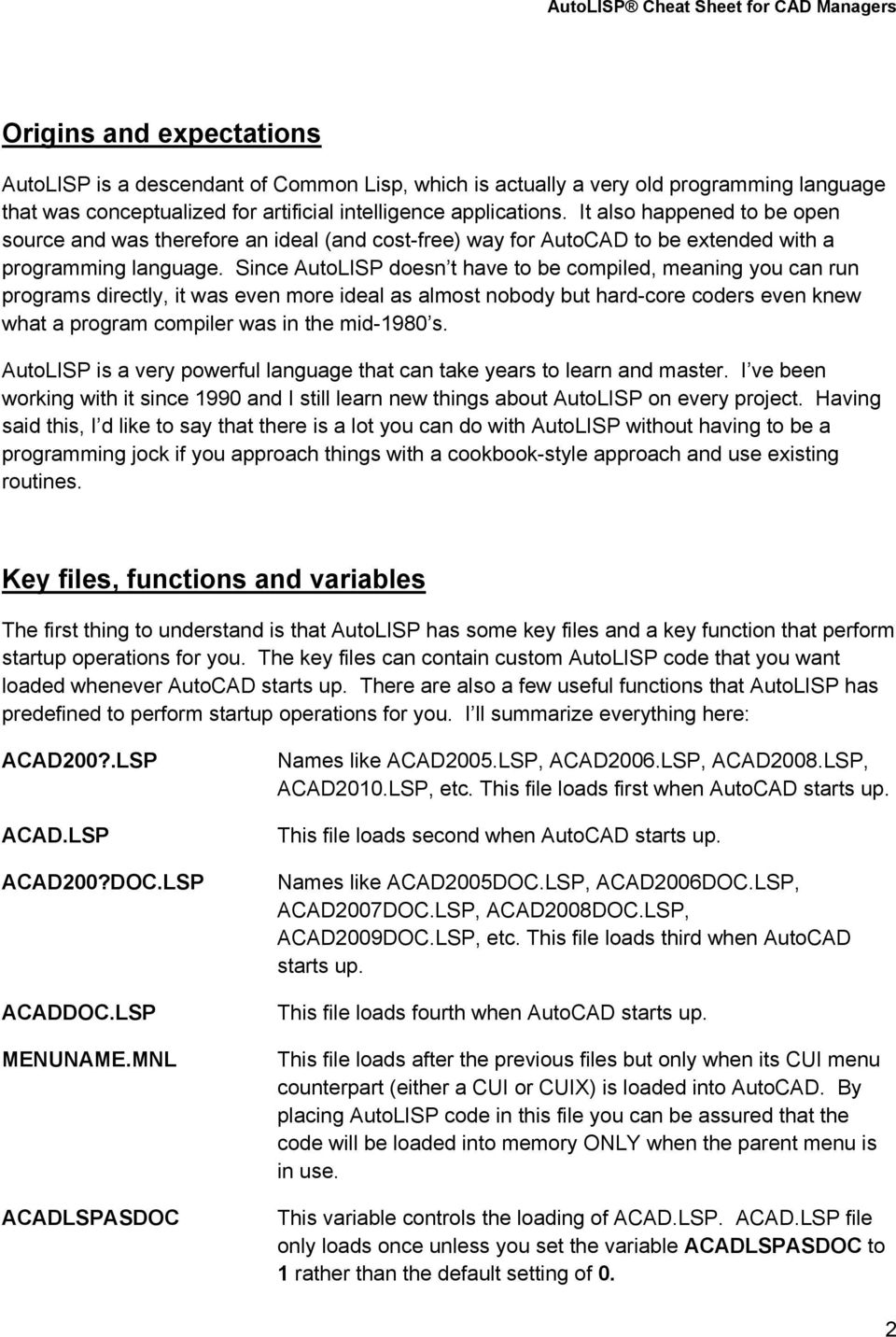 AutoLISP Cheat Sheet for CAD Managers - PDF