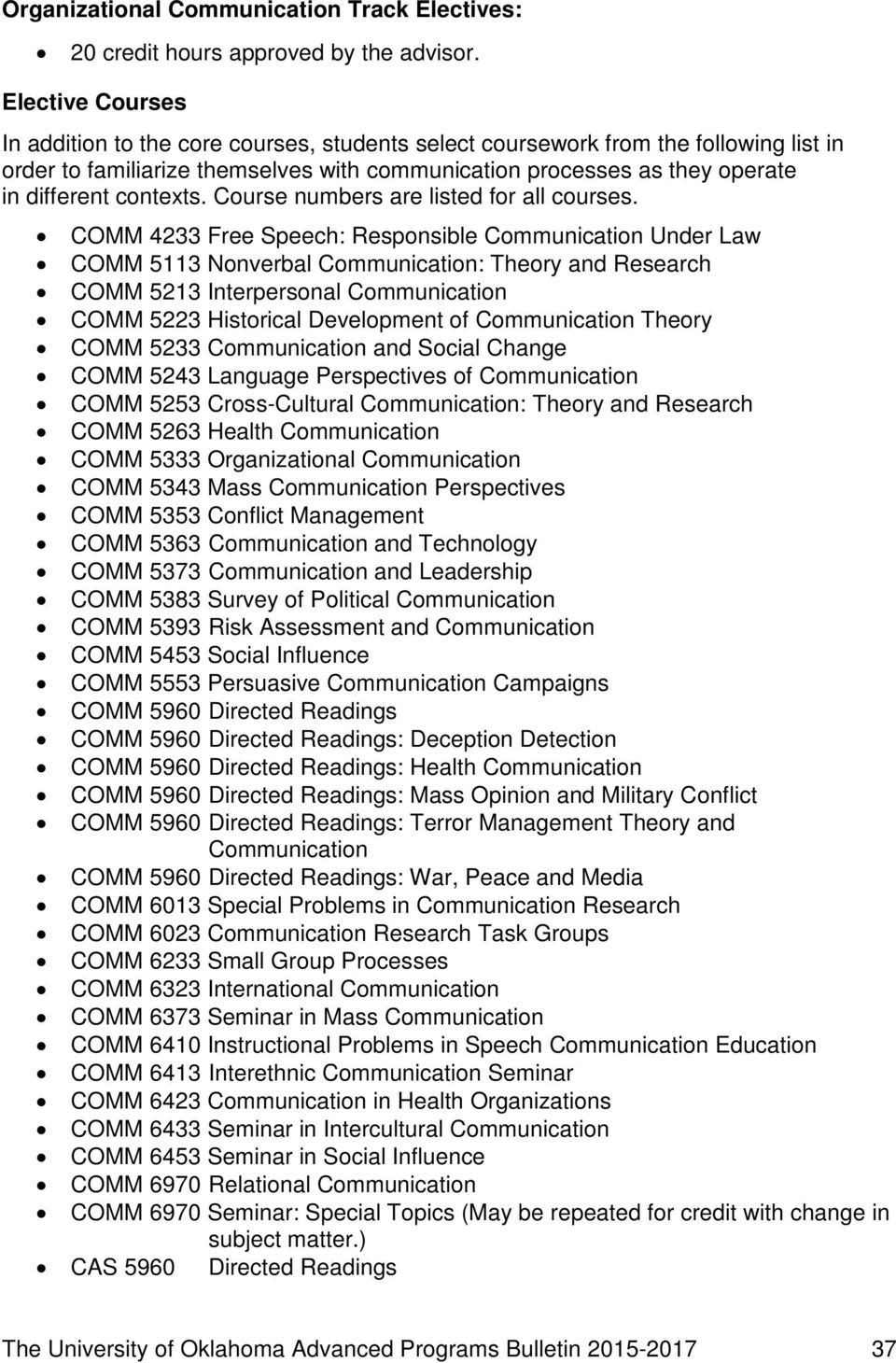 contexts. Course numbers are listed for all courses.