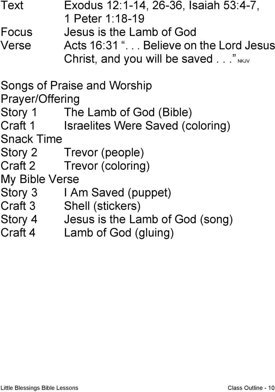 .. NKJV Songs of Praise and Worship Prayer/Offering Story 1 The Lamb of God (Bible) Craft 1 Israelites Were Saved (coloring) Snack