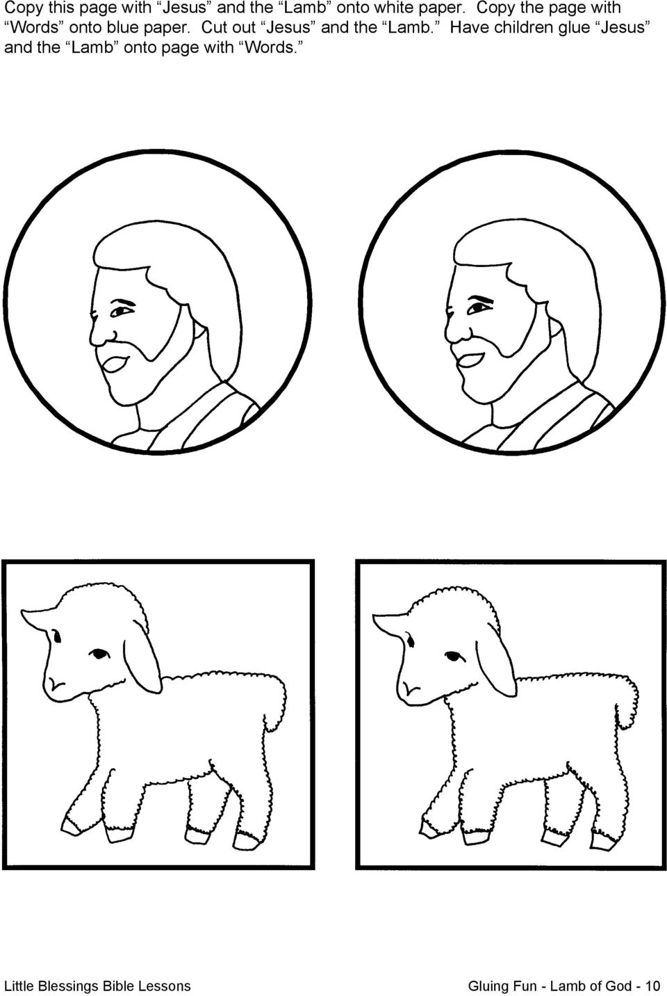 Cut out Jesus and the Lamb.