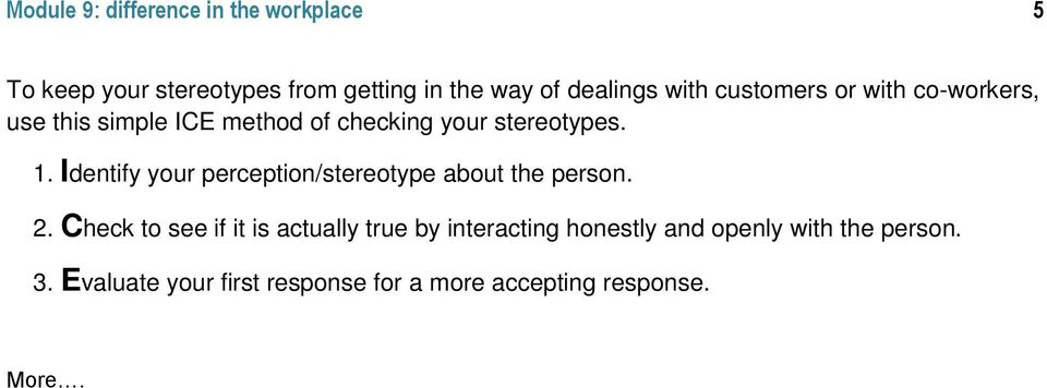 Identify your perception/stereotype about the person. 2.