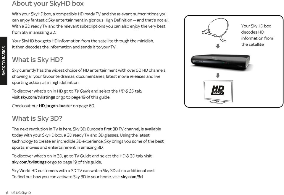 It then decodes the information and sends it to your TV. What is Sky HD?