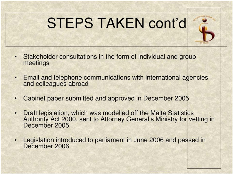 2005 Draft legislation, which was modelled off the Malta Statistics Authority Act 2000, sent to Attorney General