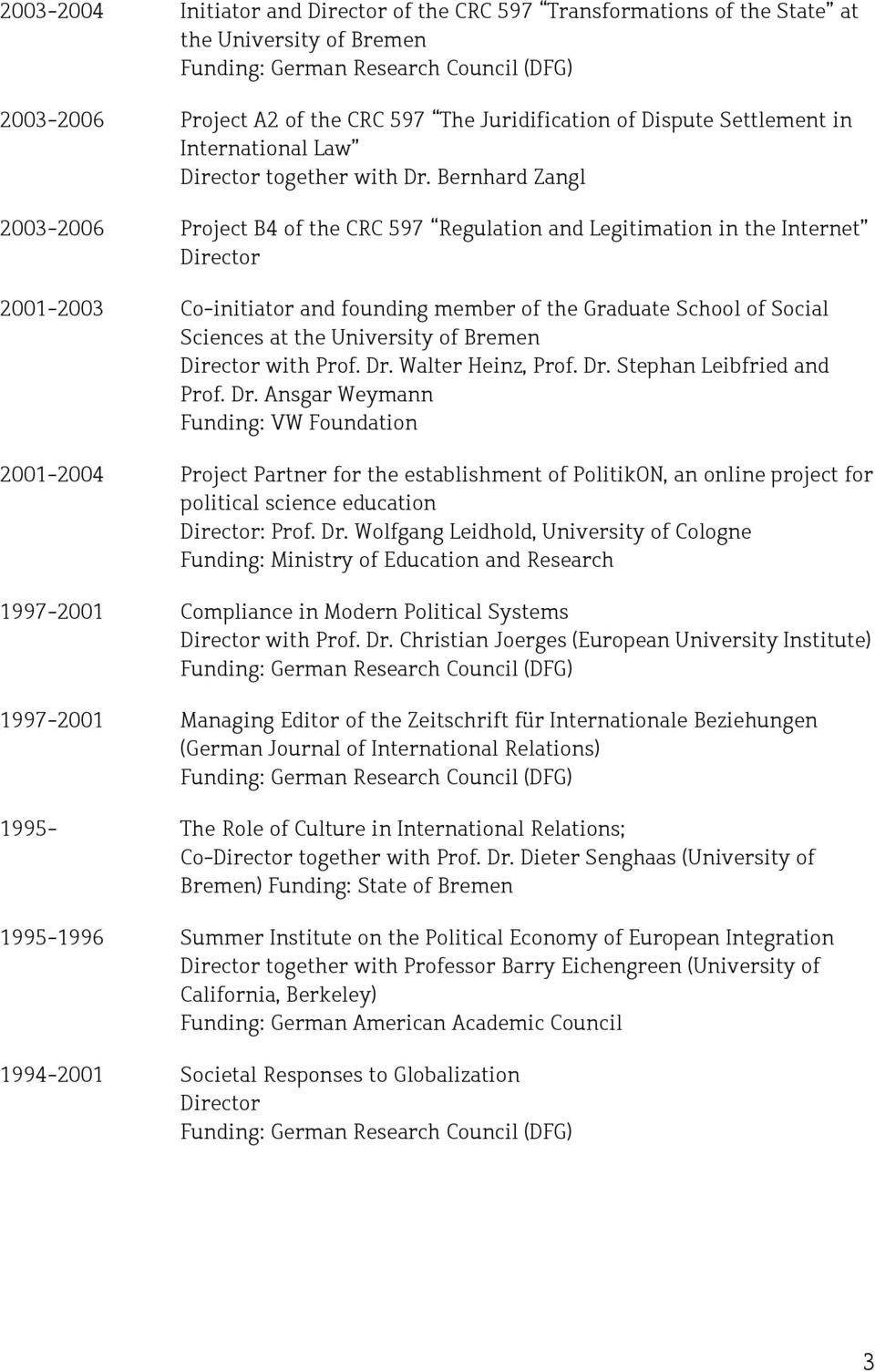 Bernhard Zangl 2003-2006 Project B4 of the CRC 597 Regulation and Legitimation in the Internet Director 2001-2003 Co-initiator and founding member of the Graduate School of Social Sciences at the