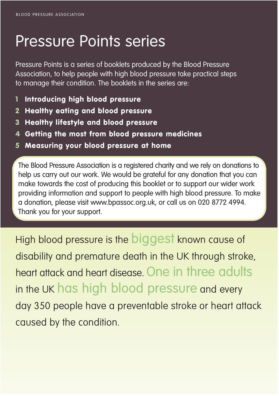 The booklets in the series are: 1 Introducing high blood pressure 2 Healthy eating and blood pressure 3 Healthy lifestyle and blood pressure 4 Getting the most from blood pressure medicines 5