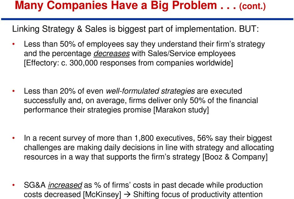 300,000 responses from companies worldwide] Less than 20% of even well-formulated strategies are executed successfully and, on average, firms deliver only 50% of the financial performance their