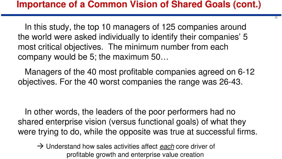 The minimum number from each company would be 5; the maximum 50 Managers of the 40 most profitable companies agreed on 6-12 objectives.