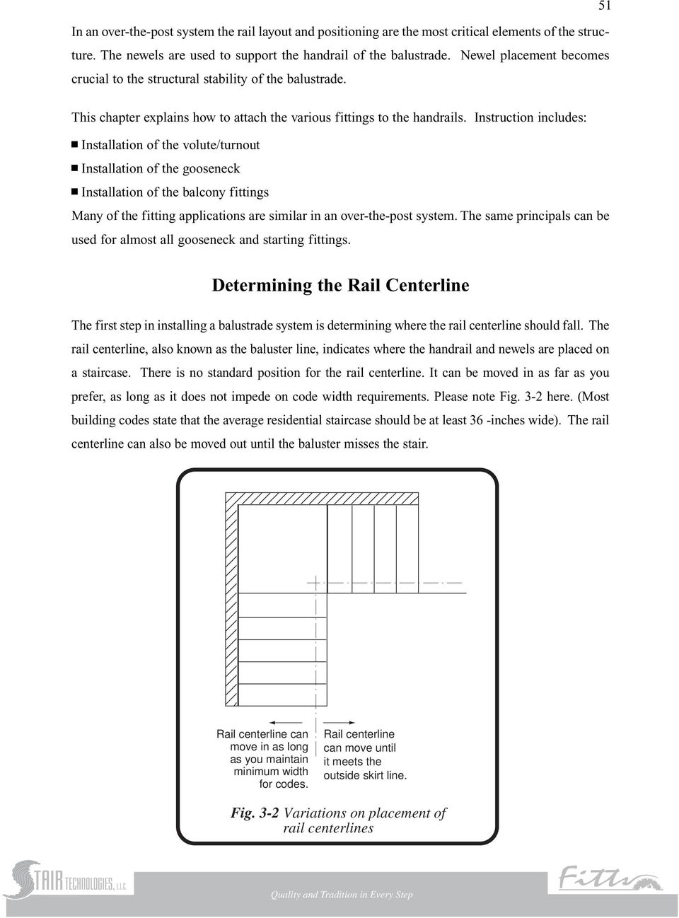 Instruction includes: Installation of the volute/turnout Installation of the gooseneck Installation of the balcony fittings Many of the fitting applications are similar in an over-the-post system.