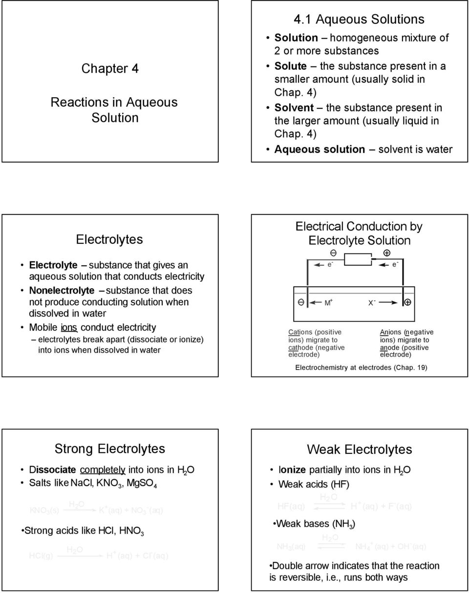 4) Aqueous solution solvent is water Electrolytes Electrolyte substance that gives an aqueous solution that conducts electricity Nonelectrolyte substance that does not produce conducting solution