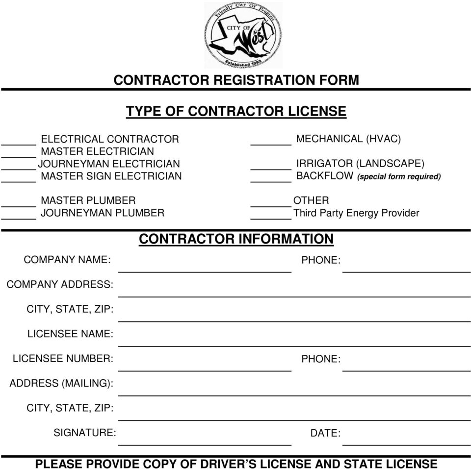 OTHER Third Party Energy Provider COMPANY NAME: CONTRACTOR INFORMATION PHONE: COMPANY ADDRESS: CITY, STATE, ZIP: LICENSEE NAME: