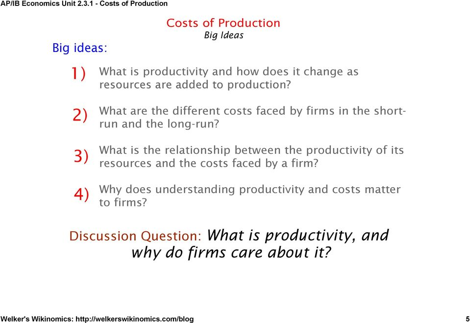 What is the relationship between the productivity of its resources and the costs faced by a firm?